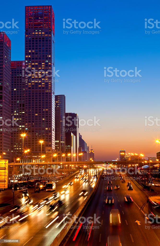 Jianguomen Avenue in Beijing Central Business District, China stock photo