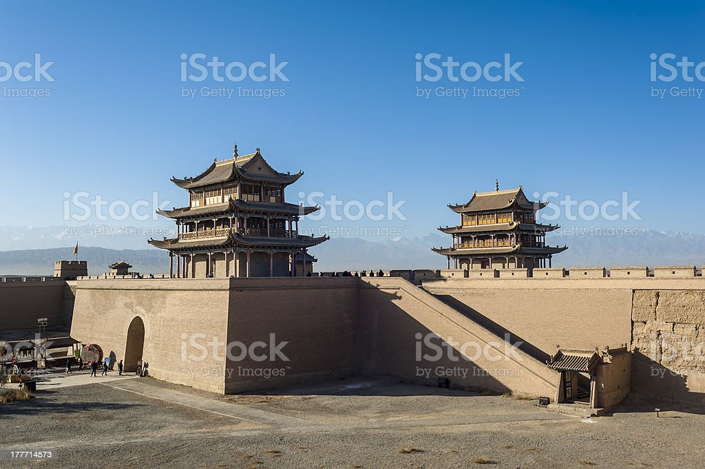Jiayuguan castle, west end of Great Wall stock photo