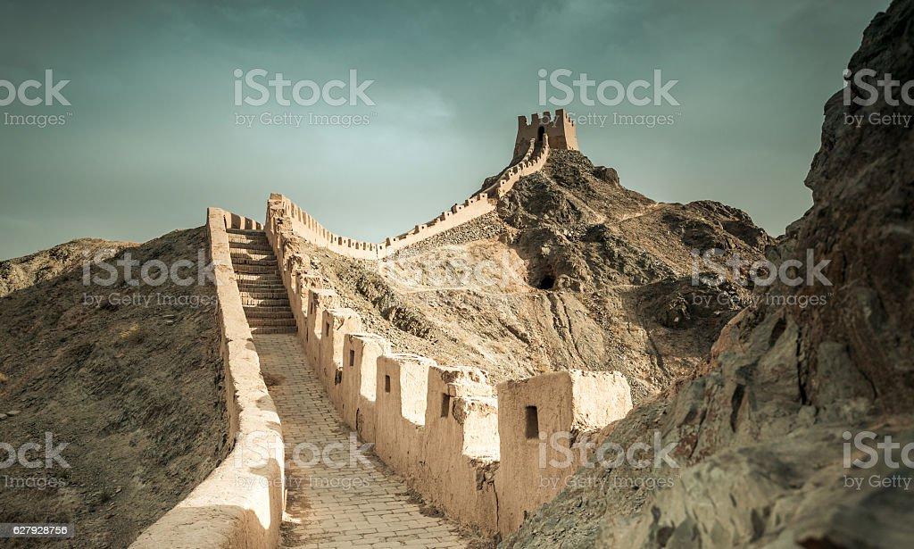 Jiayuguan Great Wall of Ming Dynasty, Gansu China. stock photo