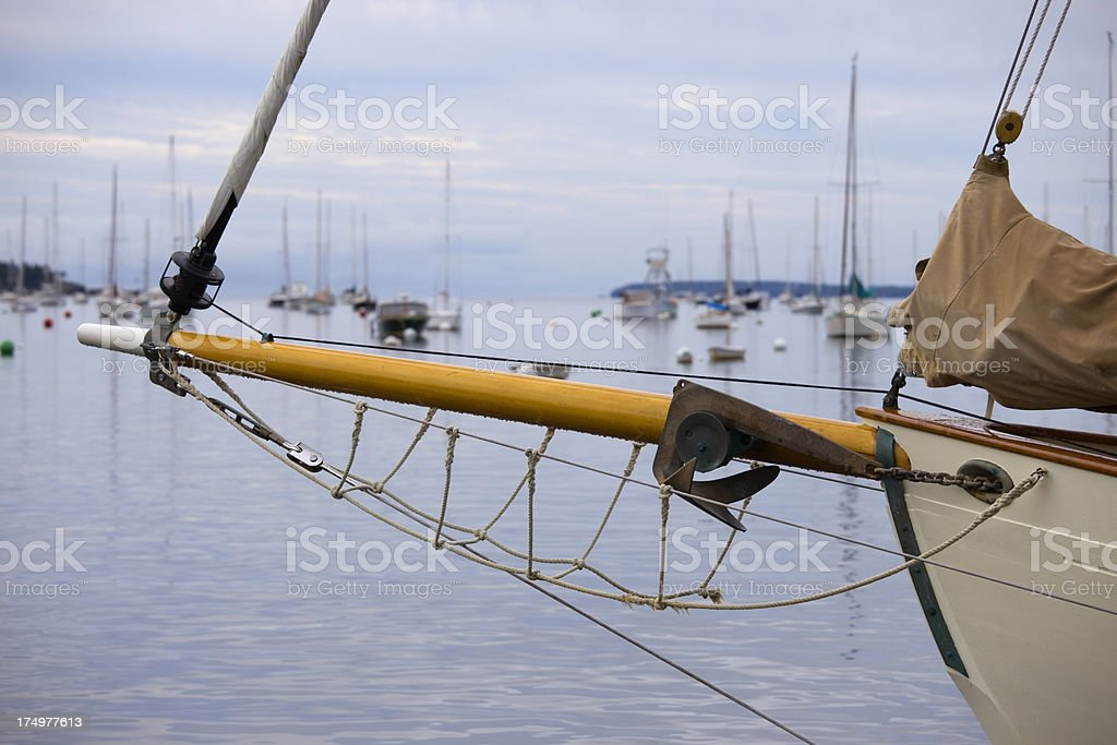 'Jib Boom and anchor on Sailboat Yacht, Rockport Maine harbor' stock photo