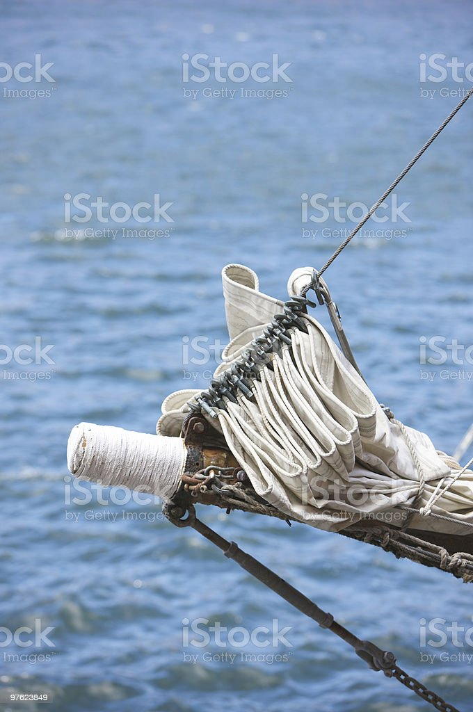 Jib on Bow of a Tall Ship royalty-free stock photo