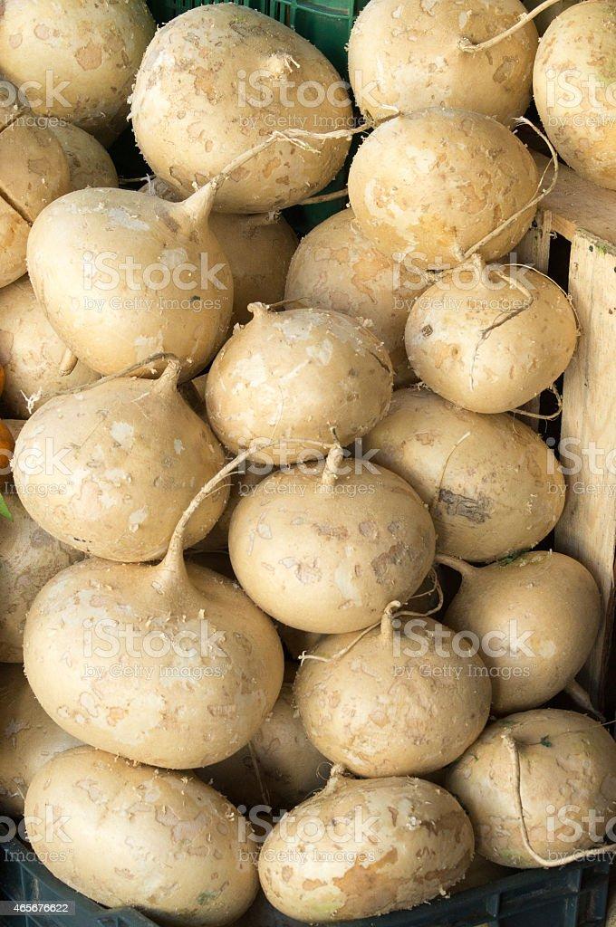 Jicama or yam bean stacked in a organic market stock photo