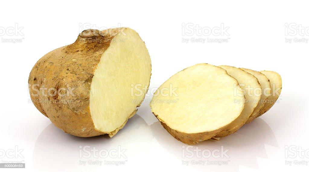 Jicama root cut and sliced stock photo