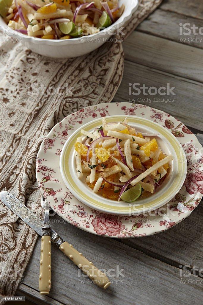 Jicama salad stock photo