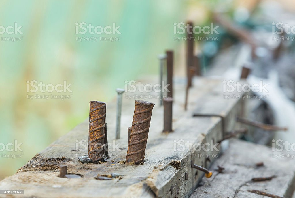 Jig for bending steel rebar in construction site royalty-free stock photo