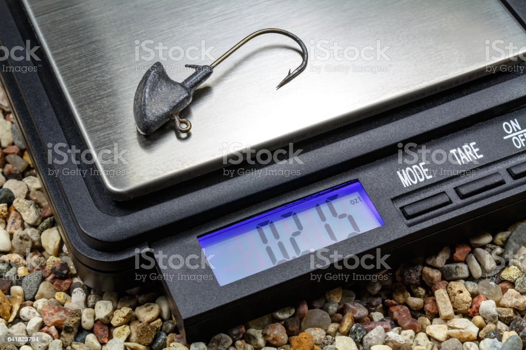 Jig head with pocket scale stock photo