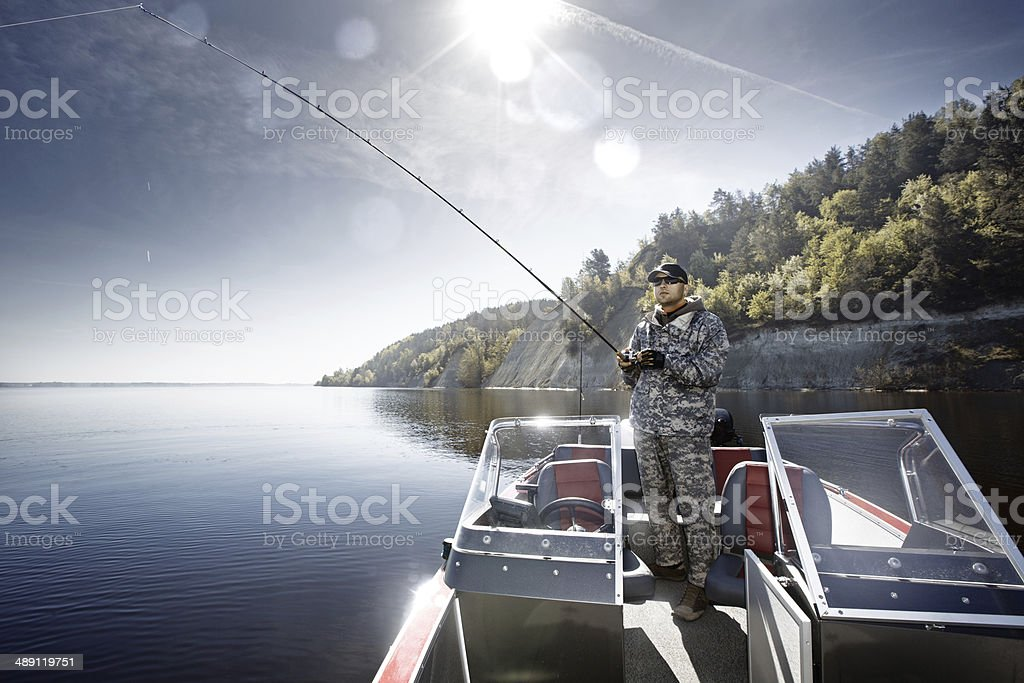Jigging man stock photo