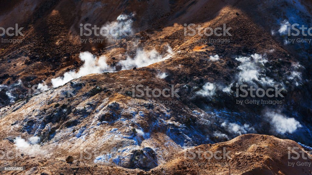 Jigokudani hell valley closeup sulfur and red  dirt in Noboribetsu stock photo