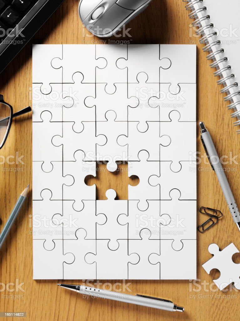 Jigsaw and Office Stationery royalty-free stock photo