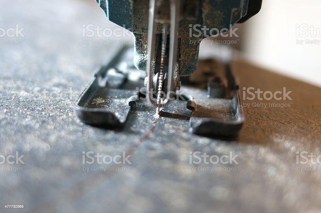 Jigsaw cutting Countertop stock photo