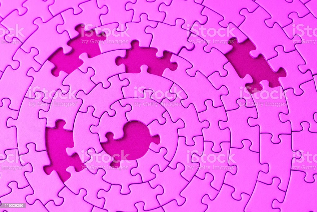 jigsaw in pink with five missing pieces royalty-free stock photo