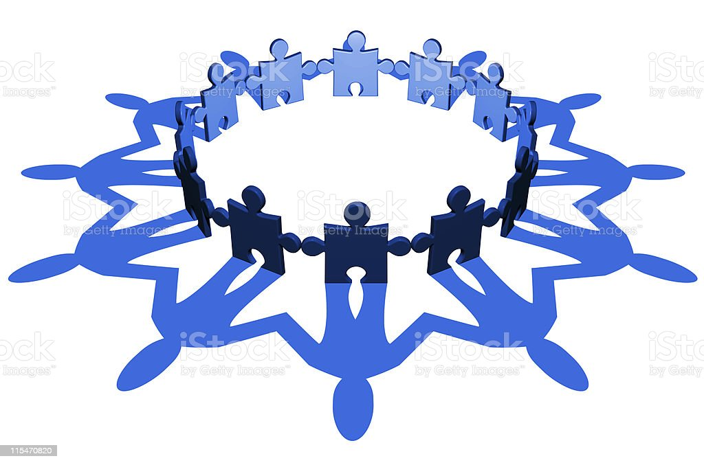 Jigsaw men (circle) stock photo