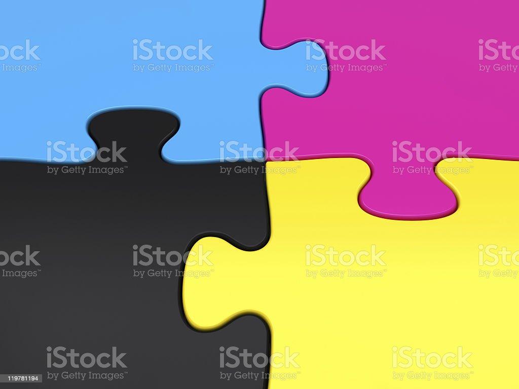 CMYK jigsaw puzzle close-up stock photo
