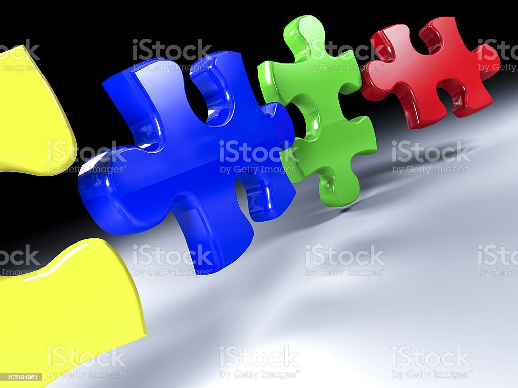 jigsaw puzzle color 3d stock photo