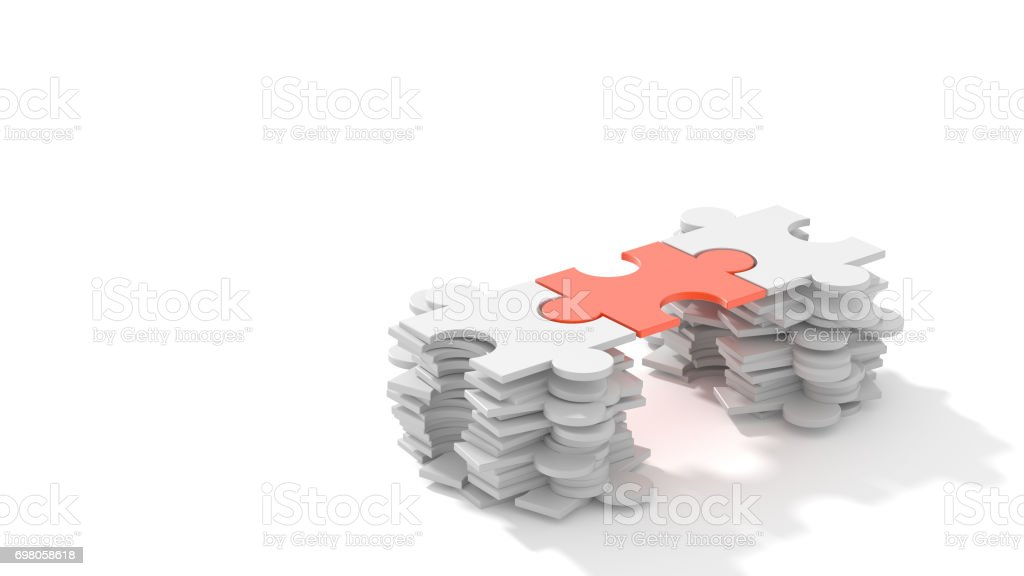 Jigsaw puzzle connection stock photo