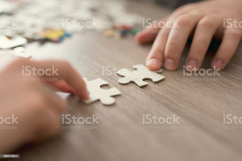 Jigsaw puzzle detail stock photo