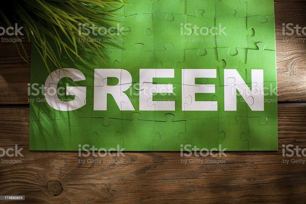 Jigsaw Puzzle - Green royalty-free stock photo