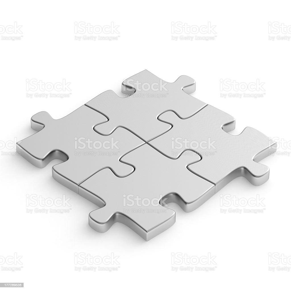 Jigsaw puzzle metal stock photo
