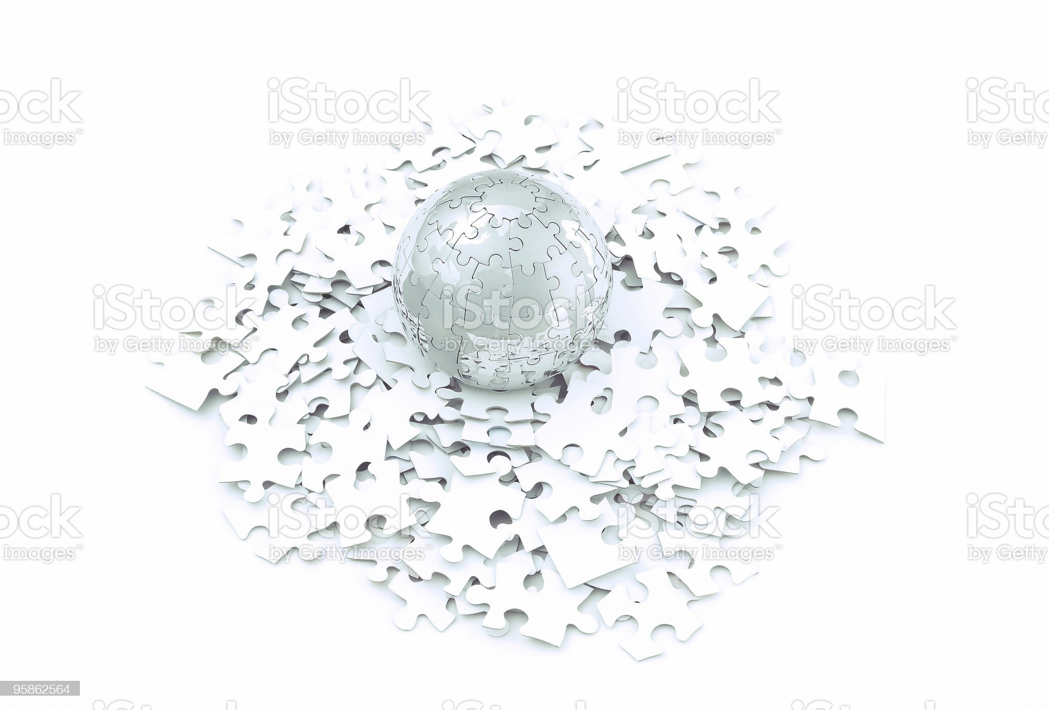 Jigsaw puzzle of globe royalty-free stock photo