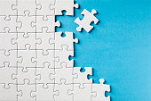 Jigsaw Puzzle on Blue