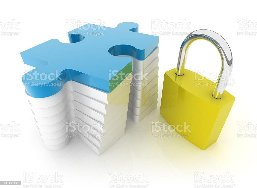 Jigsaw Puzzle - Padlock royalty-free stock photo