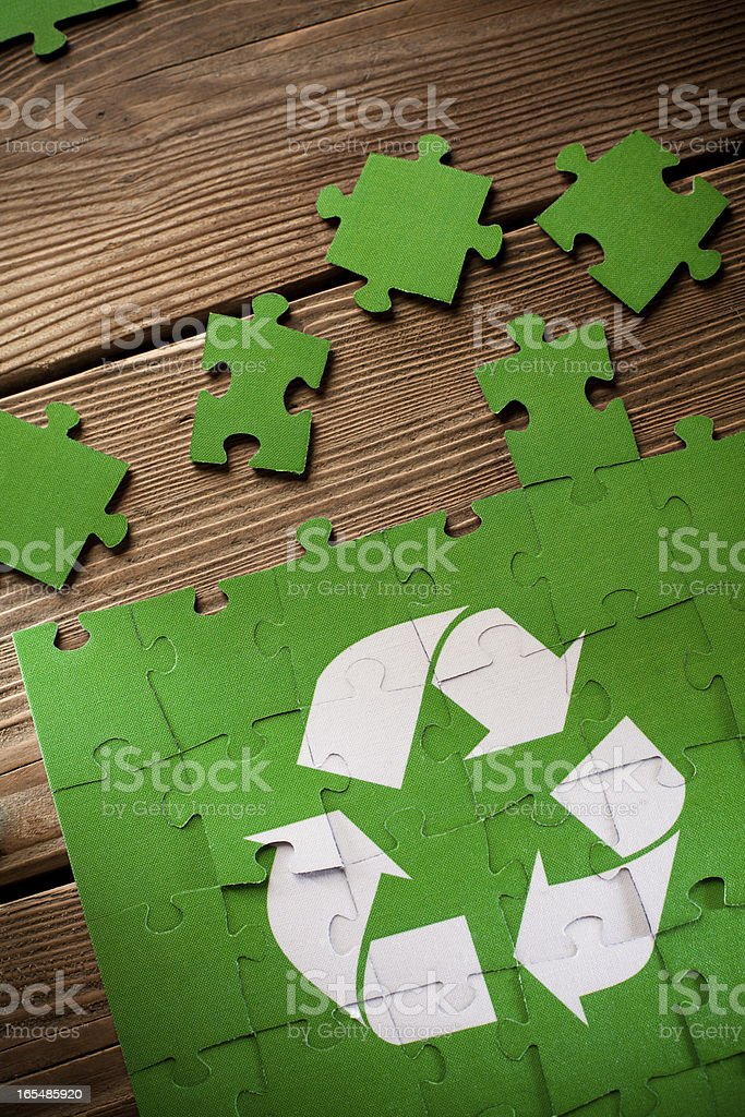 Jigsaw Puzzle - Recycling Sign royalty-free stock photo