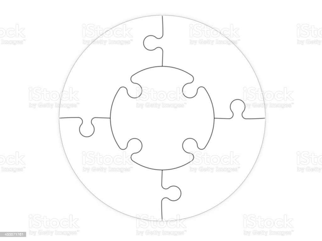 Jigsaw puzzle template with five pieces stock photo