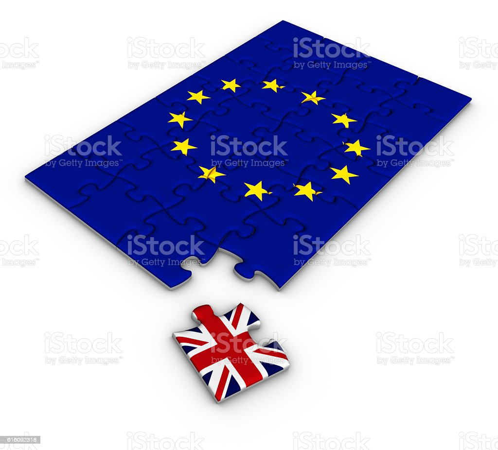 Jigsaw puzzle with flags of Great Britain and European Union. vector art illustration