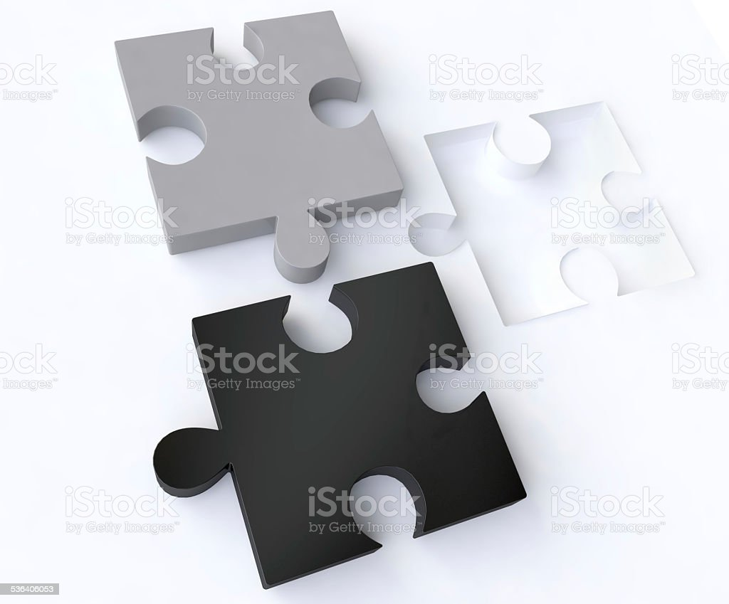 Jigsaw Puzzles in Black and White stock photo