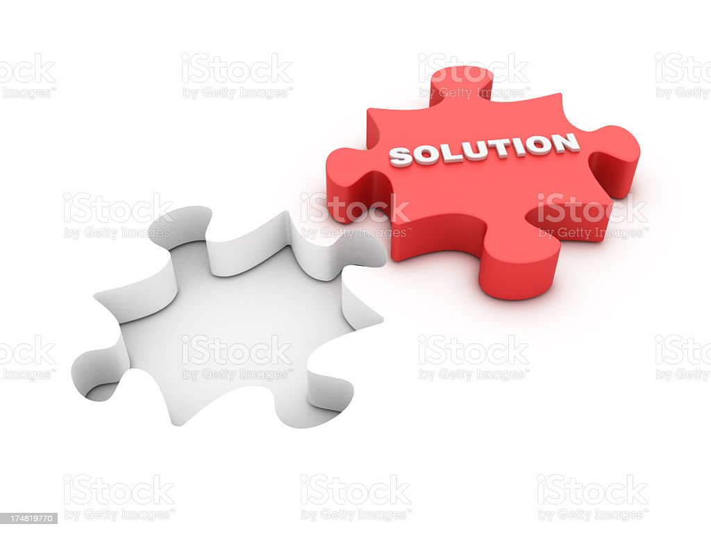Jigsaw Shape with Solution Word royalty-free stock photo