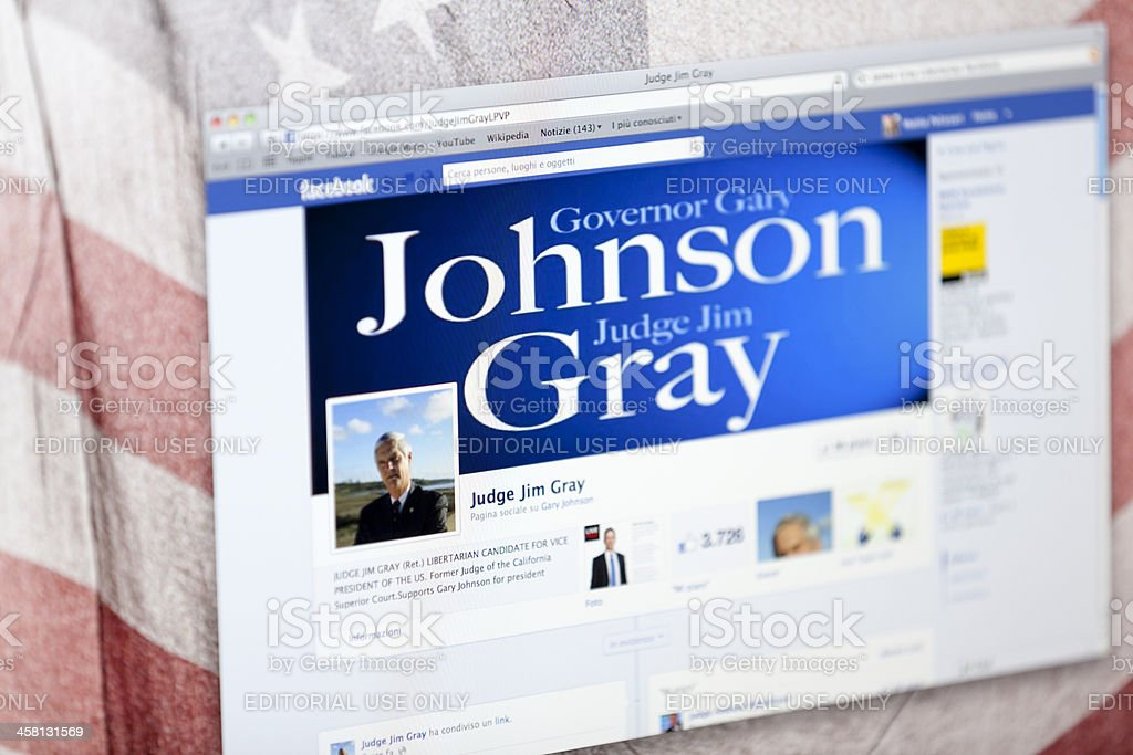 Jim Gray Facebook Fan Page royalty-free stock photo