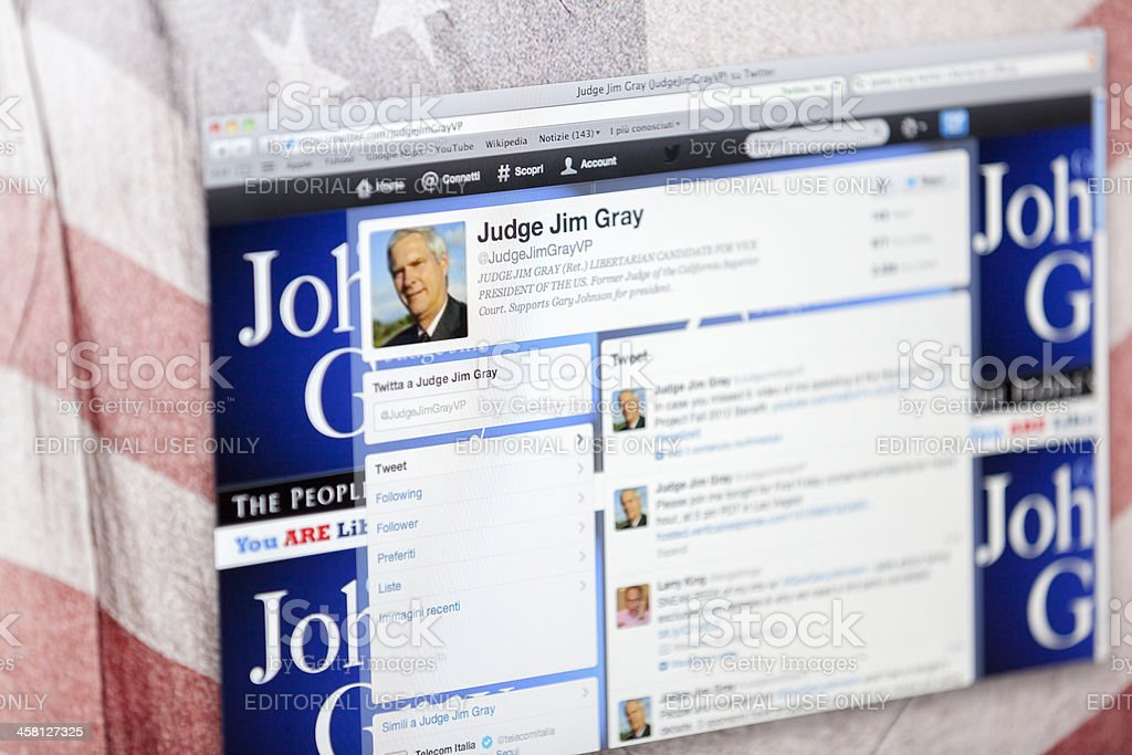 Jim Gray Twitter Fan Page royalty-free stock photo
