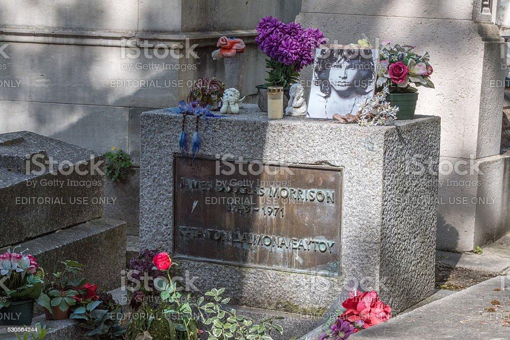 Jim Morrison grave in Pere-Lachaise cemetery stock photo