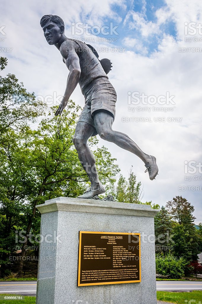 Jim Thorpe Discus Statue stock photo