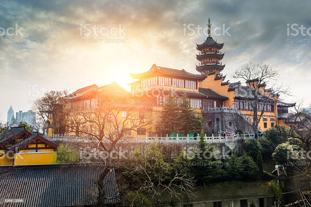 Jiming Temple sunset in Nanjing,China stock photo