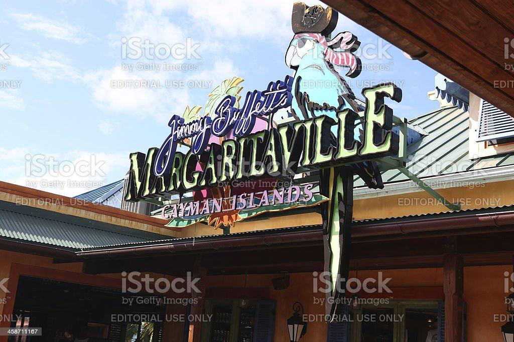Jimmy Buffett's Margaritaville sign at Cayman Islands stock photo