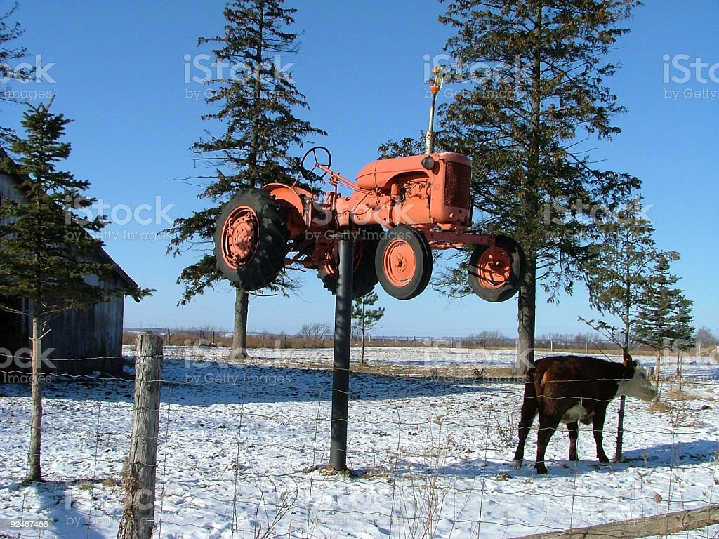 jimmy joes tractor on a stick stock photo