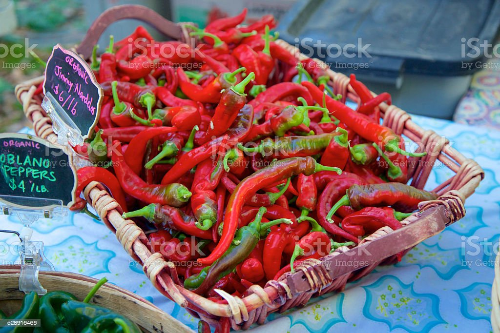 Jimmy Nardello Italian Peppers stock photo