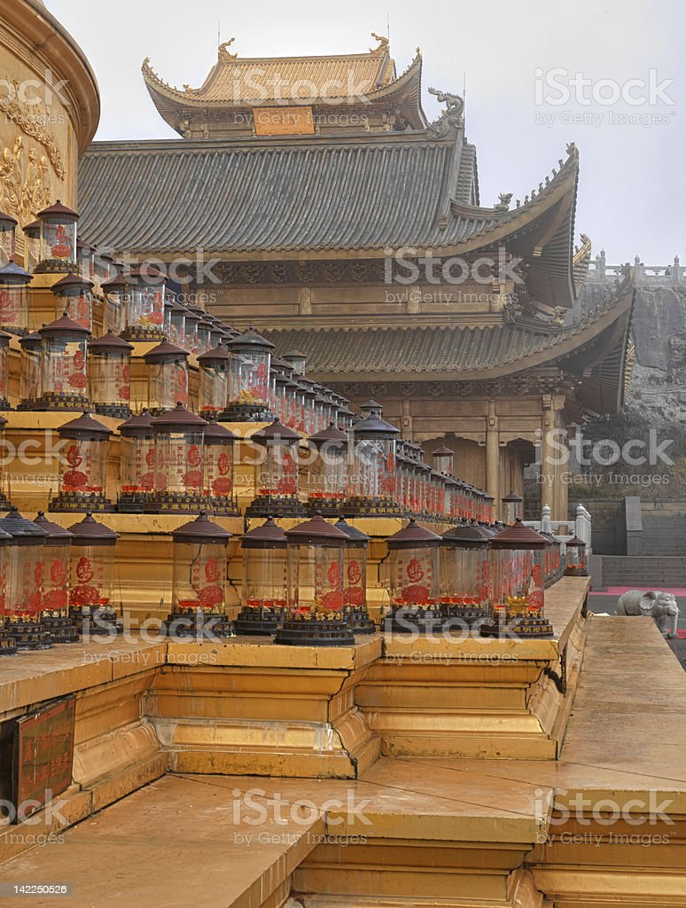 Jin Ding Temple on TOP of Emei Mountain stock photo