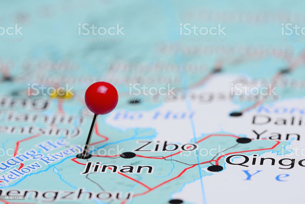 Jinan pinned on a map of Asia stock photo