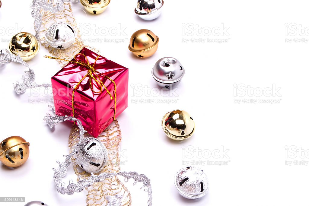 jingle and wrapped boxes stock photo