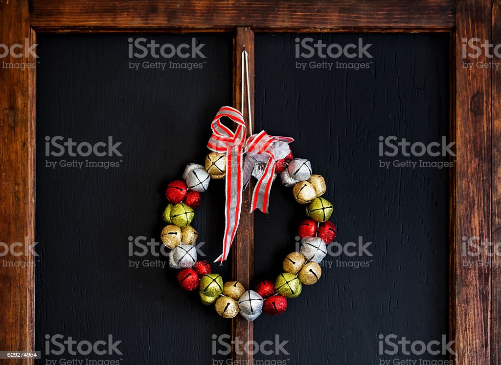 Jingle bell Christmas wreath stock photo