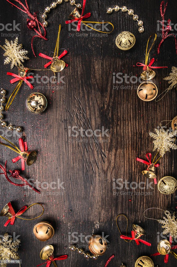 jingle Bells  on dark wooden, christmas background stock photo