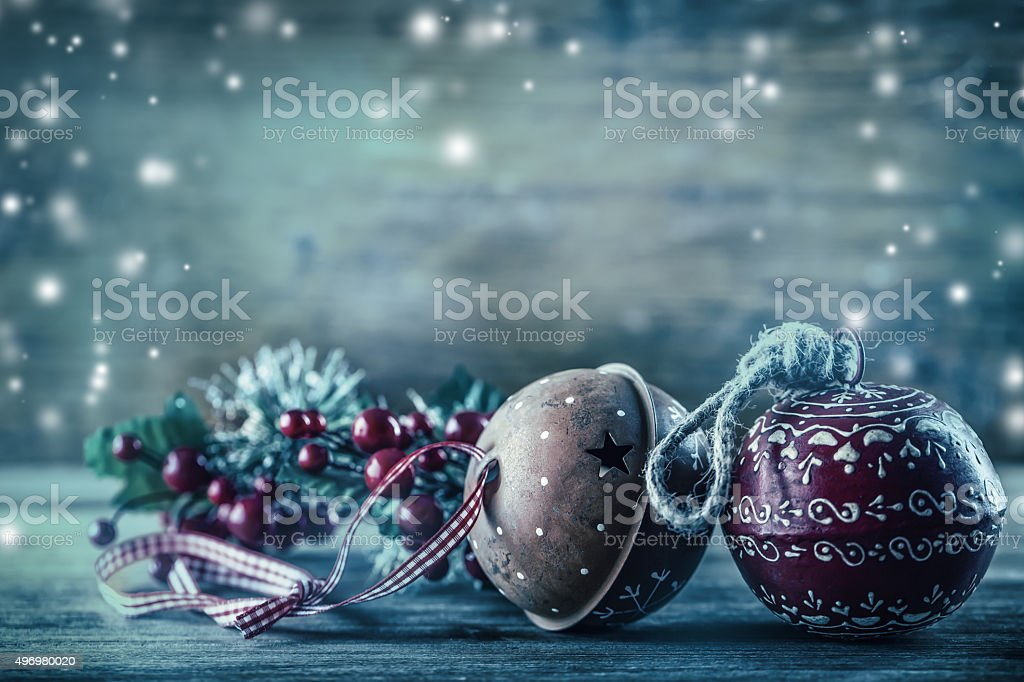 Jingle Bells pine branches Christmas decoration in the snow atmosphere. stock photo