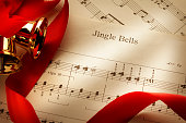 Jingle Bells Sheet Music With Red Ribbon And Bells