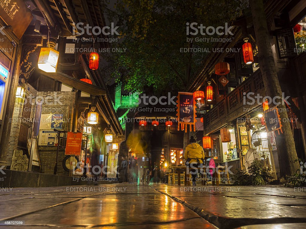 Jinli night market and historical district, Chengdu, China royalty-free stock photo