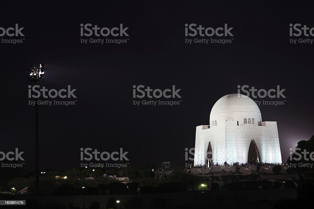 Jinnah's Tomb Karachi Pakistan at Night stock photo