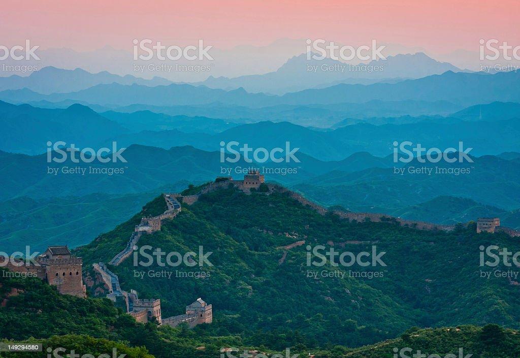 Jinshangling Great Wall sunset stock photo