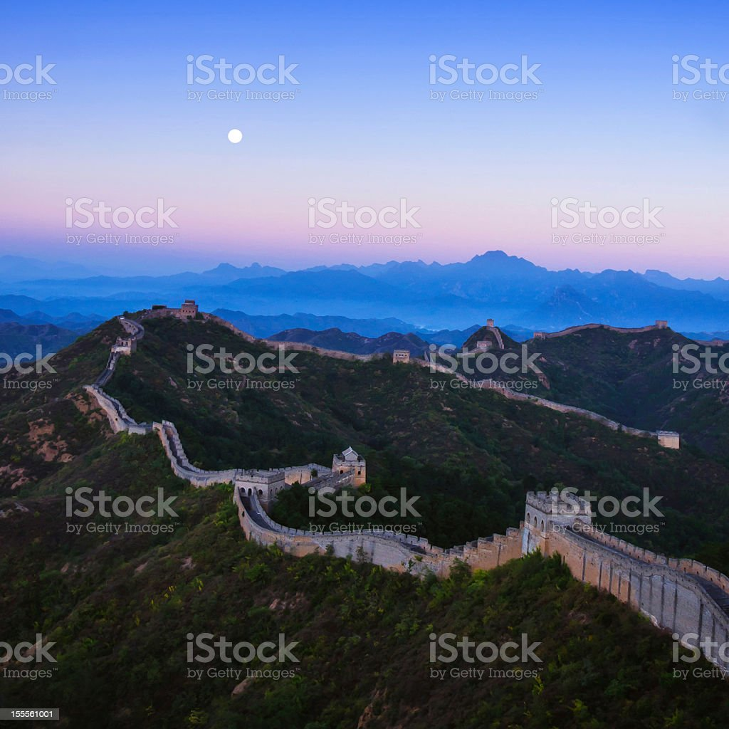 Jinshanling great wall Early in the morning with moon stock photo
