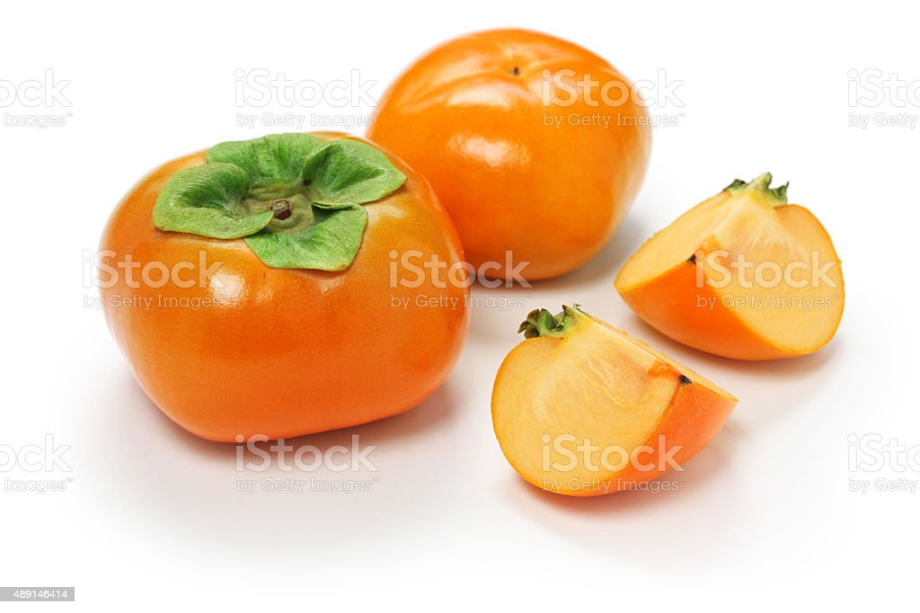 jiro kaki, japanese persimmon stock photo